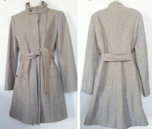 ZARA Ladies 8 10 Spring Coat Jacket Light brown beige Wool Tweed blend Spain Morocco M Medium
