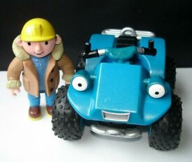 Bob The Builder Toy Figure + Scrambler Friction Powered Vehicle Toy