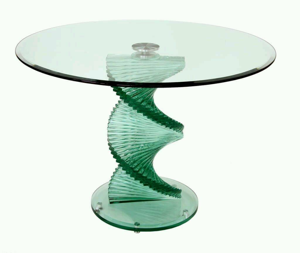 Furniture Village Glass Spiral Dining Table And Matching