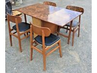Retro Fold Down Table And 4 Chairs - Extendable - Dining Room - Kitchen
