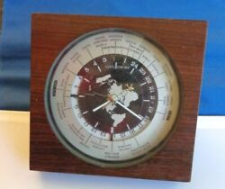 Seiko Quartz GMT Vintage World Time Desk Mantel Airplane Wood Clock QZ877B