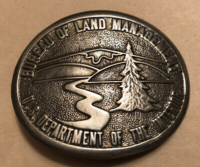 Blm Bureau Of Land Management Belt Buckle. Silver 1985. Serial 3567