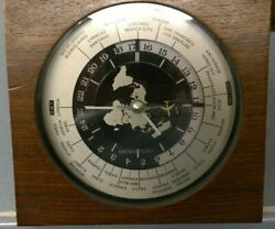 Working Seiko Quartz GMT World Time Desk Mantel Airplane Wood Clock QZ877B