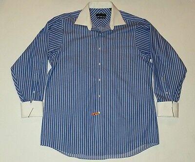 Men's Donald J. Trump Signature Collection Blue & White Dress Shirt Sz 16 32/33
