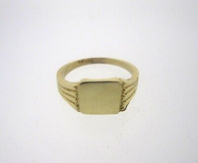 * 585 14K 14KT YELLOW GOLD RECTANGLE SIGNET BABY RING