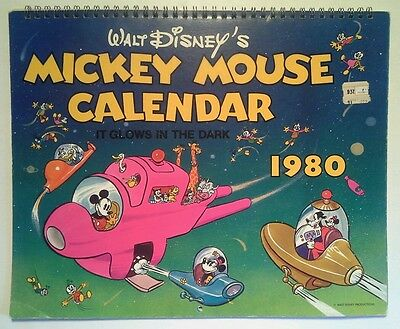 MICKEY MOUSE  1980 CALENDAR  WALT DISNEY PRODUCTIONS  VINTAGE BRIGHT COLOR GLOWS