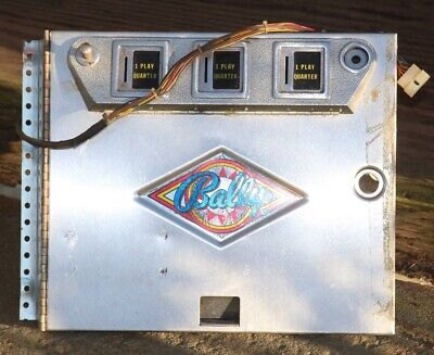 BALLY Original Early Solid State Pinball Machine Coin Door w/wiring harness +