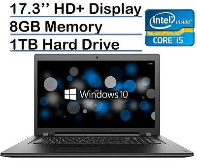 "New Lenovo 17.3"" Laptop i5-6200U 8GB RAM 1TB HDD DVD-RW HDMI Win 10 Black"