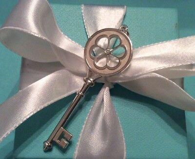 TIFFANY & Co. Sterling Silver Diamond Blossom Heart Key Charm Pendant