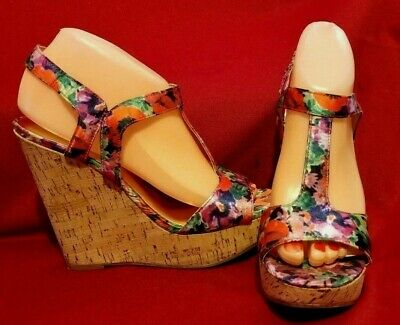 "Carlos Santana Bondi Platform 5"" Wedge T Strap Sandals Colorful Floral Sz 8"