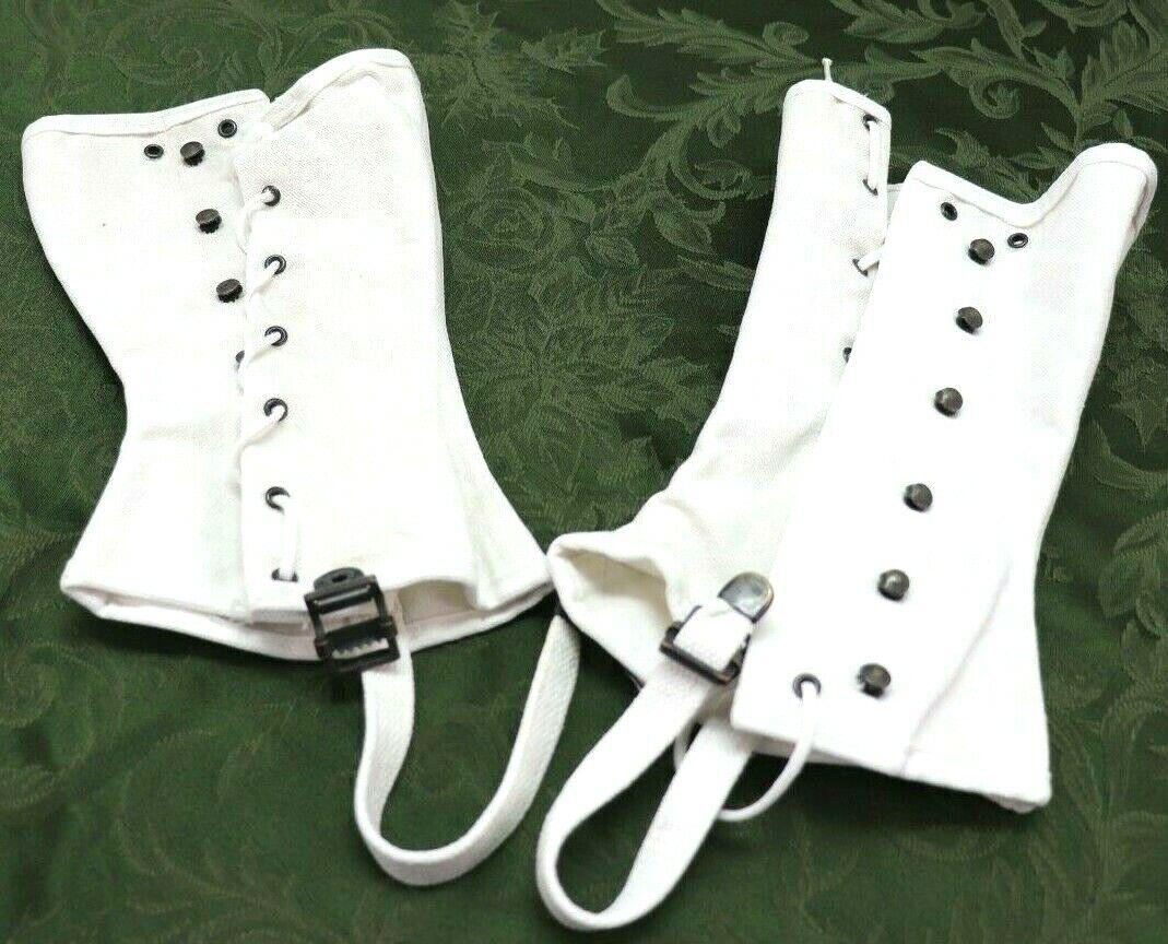 1990 USMC white cotton canvas leggings size 6 one pair as shown E480