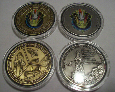 (2) Nasa Space Shuttle Program Flown In Space Medallion Coin Mission Complete