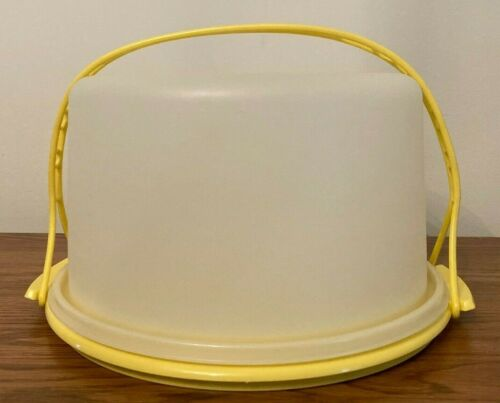 Tupperware Vintage Round Cake Taker Keeper Carrier Harvest Gold Handle #684 #683