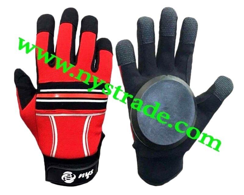 Gloves for Long board Skateboard Sliding with Quality Slide Pucks- Red