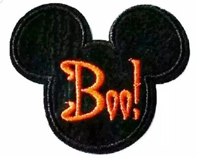 Mickey Mouse Patch Boo Halloween Embroidered Iron On Applique  2.75