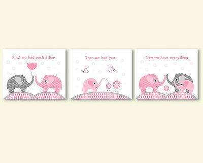3 prints, art for baby girl nursery, room wall decor - elephants family, quote