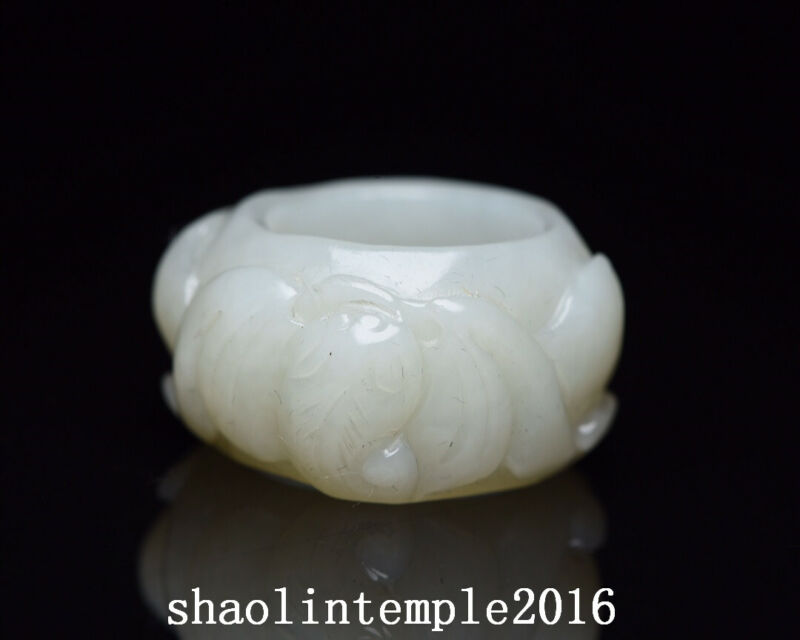 ancient  China  natural  Nephrite  Hand carving  Bat pattern  Fingerstall