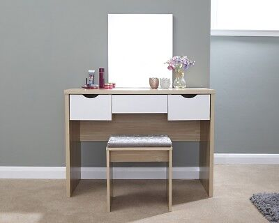 - Contemporary Dressing Table Set Oak With 3 Drawer Storage - Table, Mirror, Stool