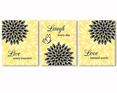 3 prints - art for bedroom, bathroom, kitchen decor - flowers, yellow and grey