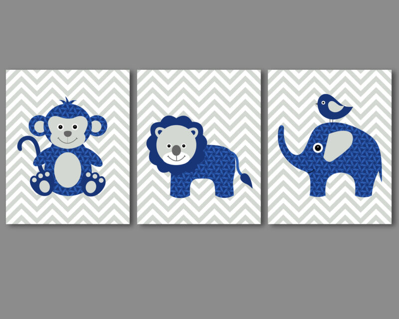 Baby boy nursery art - safari animals monkey, lion, elephant - navy, grey prints