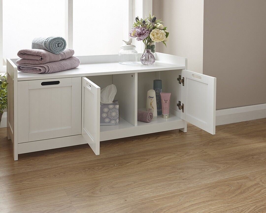 Details about Colonial 4 Door Bathroom Floor Storage Bench Seat Chair  Cabinet White