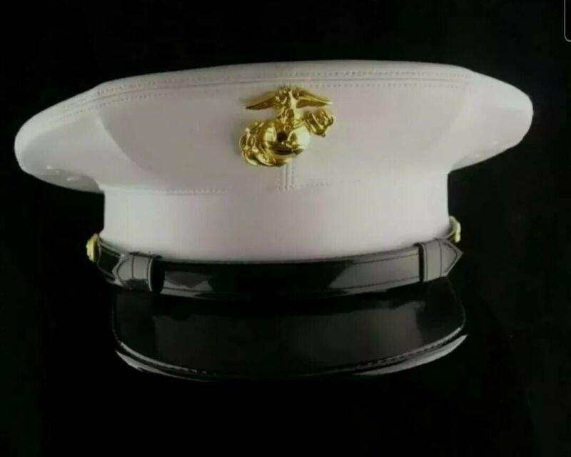 USMC Dress blues marine hat  replica White vinyl All Sizes Avialable
