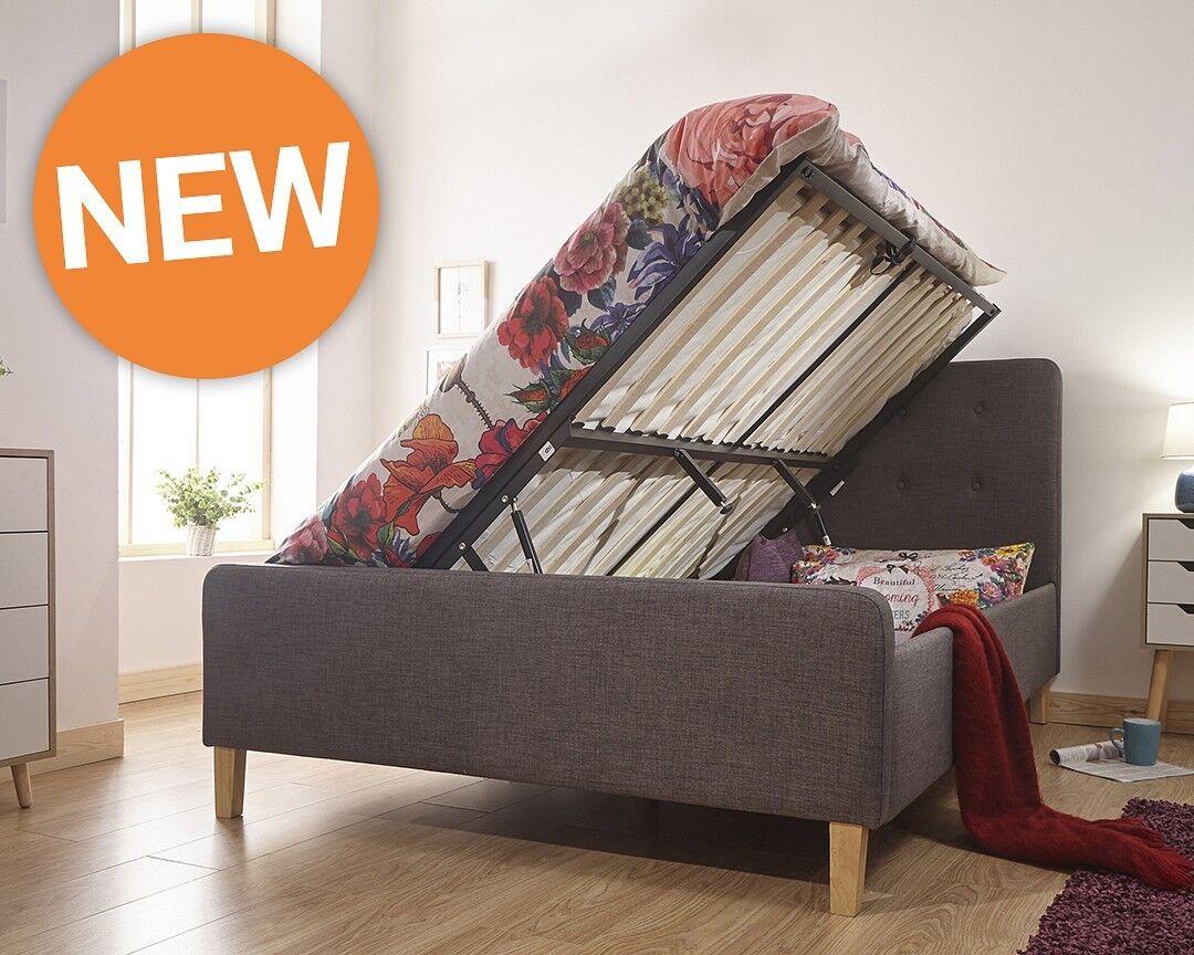 Sensational Details About Dark Grey Ashbourne Side Lift Up 3Ft Single Ottoman Bed Solid Base Fabric Ibusinesslaw Wood Chair Design Ideas Ibusinesslaworg