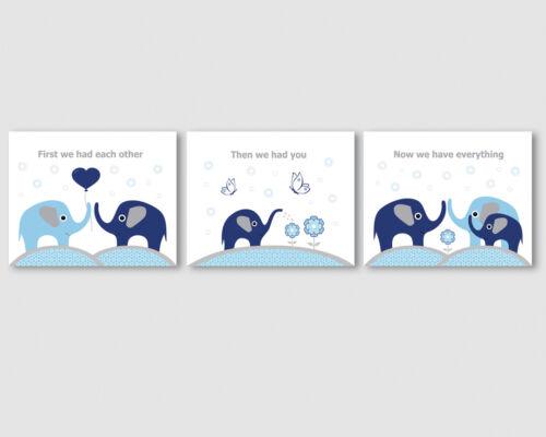 3 prints, art for baby boy nursery, room - elephants family, navy blue, grey