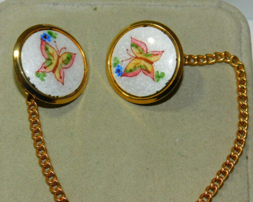 Vintage Guilloche Enamel Butterfly Button Dress Sweater Clips Chain 3h 59