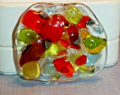 Unique Vintage Abstract Art Glass Brooch/Pin, Multicolor