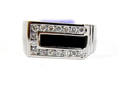 Square Black Onyx Bar & Diamond Men's Fashion Ring 14k White Gold .62Ct