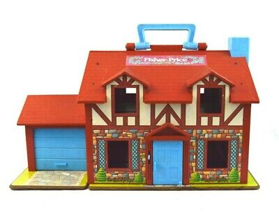Vintage Fisher Price Little People Brown Tudor House Play Set #952
