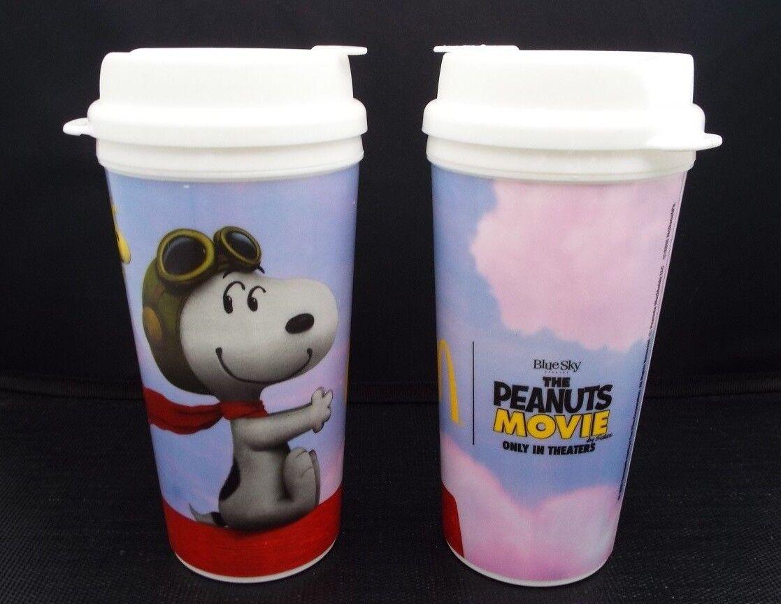 TWO   McDonald's 2015 Peanuts Movie Mugs Cups BPA Free Top D