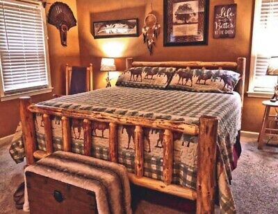 Rustic Log Bed! Top seller on Ebay! Quick ship! 24 years in Business!   Pine Log Bed