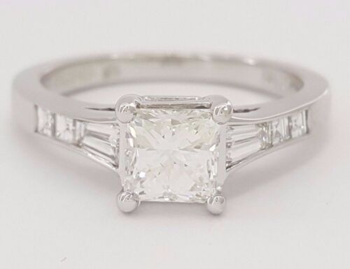 Jeff Cooper 1.57ct  Platinum Leo Princess & Baguette Cut Diamond Engagement Ring