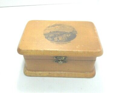 ANTIQUE MAUCHLINE TRANSFER  WARE JEWELLERY   BOX WISH TOWER EASTBOURNE