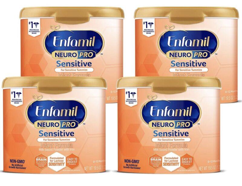 🌿Enfamil Neuropro Sensitive Baby Formula, NON-GMO 19.5 Ounce, 4-Pack EXP 7/23🌿