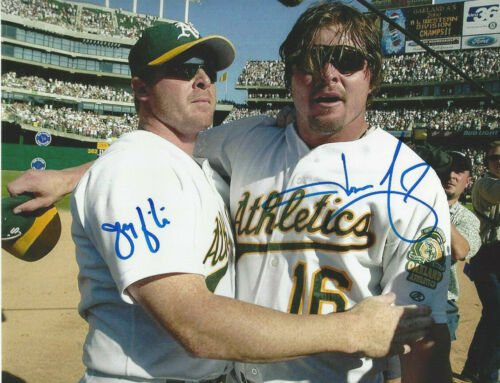 Oakland A's Jeremy & Jason Giambi duel autographed 8x10 color  photo