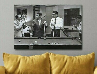 Pool Art - The Rat Pack Playing Pool Canvas Poster Canvas Print Art Decor Wall FRAMED