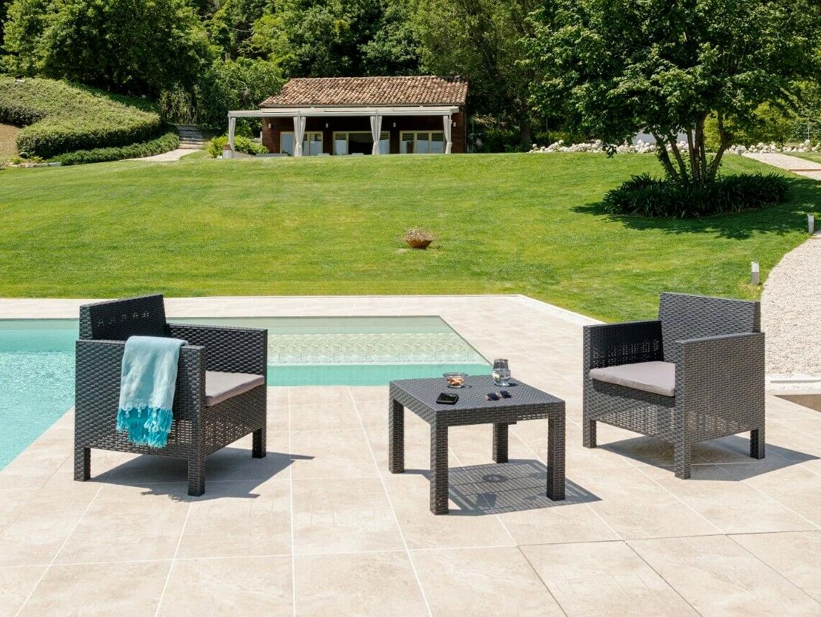 Garden Furniture - 3 Piece Weatherproof Rattan Outdoor Garden Furniture Set , 2 Chairs + 1 Table