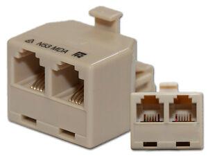Modular Double Adaptor RJ12 Plug to 2 x RJ12 Sockets