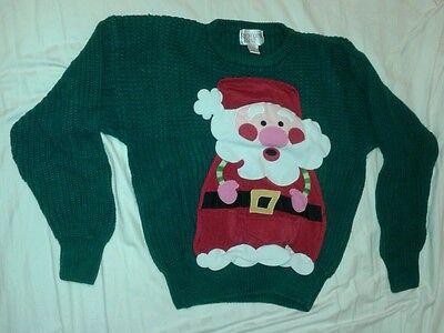 Tacky Ugly Christmas Sweater Size Large Richards Road Award Winner! Santa Unisex](Ugly Sweater Awards)