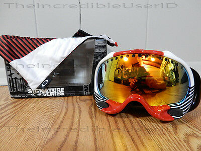 cfa93e7165d Oakley A Frame Shaun White Block Stripes Red Fire Iridium Goggles RARE  Snowboard
