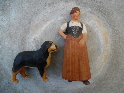 VINTAGE HUGGLER WYSS BRIENZ SWITZERLAND CARVED WOOD SWISS  WOMAN