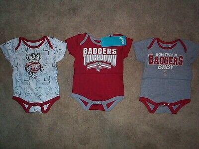 (3) Wisconsin Badgers ($32) INFANT BABY NEWBORN Jersey Shirt 0-3M 0-3 Months