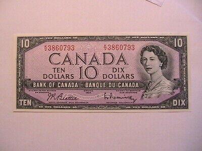 1954 Canada 10 Ten Dollar CU Gem Beattie Rasminsky Paper Money Currency Banknote