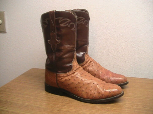 Mens, 9D, Lucchese, CLASSICS, Handmade, Brown, Full, Quill, OSTRICH, Western, Cowboy, Boots