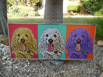 ANDY WARHOL STYLE FRAMED COLORFUL DOG POP ART