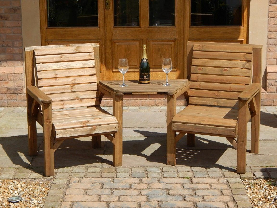 Garden Furniture - WOODEN GARDEN FURNITURE - TWINSET - 2 CHAIRS & REMOVABLE TRAY