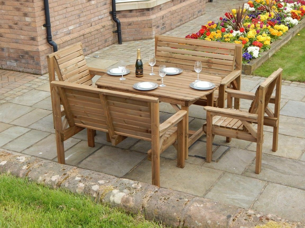 Garden Furniture - WOODEN GARDEN FURNITURE - 4FT 6INCH TABLE 2 BENCHES & 2 CHAIRS - FULLY ASSEMBLED